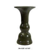 Chinese Handmade Dark Olive Army Green Ceramic Accent Vase ws331S