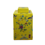 yellow urn - flower butterflies- porcelain jar