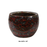 Chinese Handmade Ox Blood Red Marks Ceramic Accent Bowl Urn ws344S