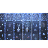 Vintage Jade Color Stone Shell Inlaid Black Lacquer Wood Screen 8 Panels ws364S