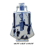 Chinese Blue White Porcelain People Graphic Flat Body Vase ws371S