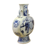 Chinese Blue White Porcelain People Graphic Oval Flat Body Vase ws375S