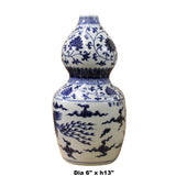 Chinese Blue White Porcelain Bird Graphic Gourd Shape Vase ws377S