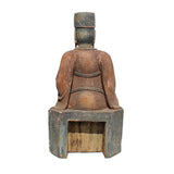 Vintage Handcrafted Distressed Wood God of Fortune Ingot Figure ws381S