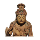 Vintage Quality Handcrafted Chinese Distressed Finish Wood Bodhisattva Statue ws382S