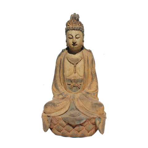 Vintage Handcrafted Chinese Distressed Finish Wood Bodhisattva Statue ws385S