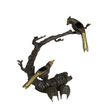 Chinese Rustic Bronze Metal Dimensional Tree Birds Incense Holder ws414S