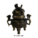 Chinese Brown Foo Dog Lid, Dragons Bronze Incense Burner ws419S