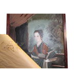 Vintage Chinese Reverse Painting Glass Lady Portrait Wall Art ws453S
