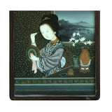 Vintage Chinese Reverse Painting Glass Lady Portrait Wall Art ws454S