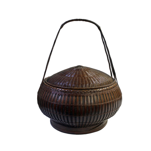 basket - wood bucket - round bucket w handle
