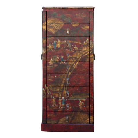 chest of drawers - jewelry cabinet - oriental scenery