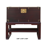 Asian Brown Stain Oriental Style Trunk Storage Chest Table ws467S