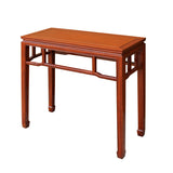 Chinese Huali Rosewood Light Brown Straight Apron Side Altar Table ws469S