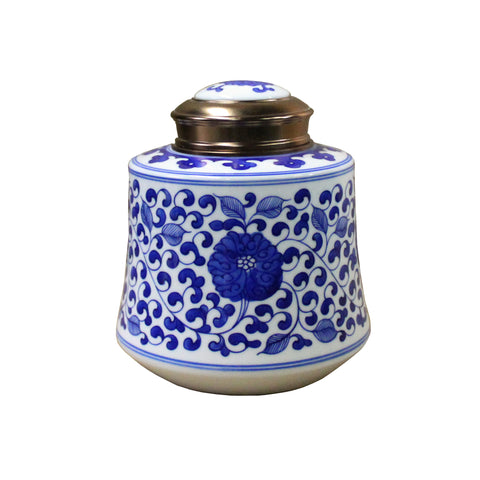 blue white porcelain  - porcelain container - ceramic urn