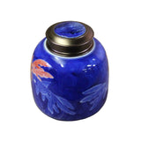 blue white - porcelain urn - ceramic container