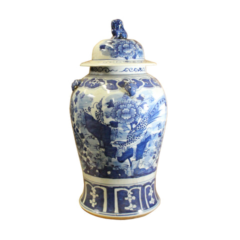 general jar - temple jar - blue white porcelain jar