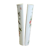 Pair Ceramic White Base Color Flower Half Round Wall Vases ws490S