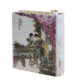 Chinese Oriental Scenery Paint Graphic Ceramic Book Shape Mini Vase ws491S
