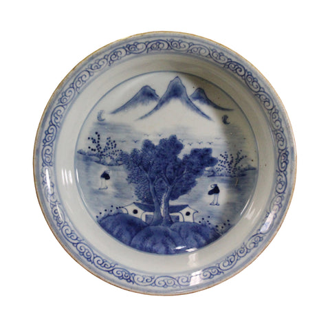 porcelain plate - Chinese blue white - oriental scenery