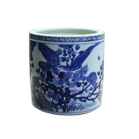 Chinese Blue & White Porcelain Floral Scenery Brush Holder Pot ws508S