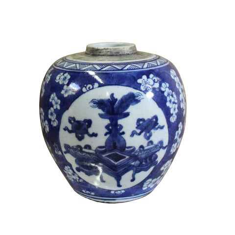 ginger jar - blue white porcelain urn - ceramic vase