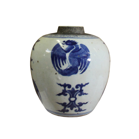 ginger jar - blue white porcelain  - ceramic urn