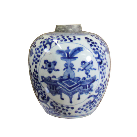 ginger jar - blue white porcelain - oriental vase