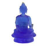 Crystal Glass Liuli Pate-de-verre Blue Color Lotus Flower Buddha Statue ws556S