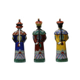 Chinese Color 3 Ching Qing Emperor Kings Figure Set ws561S