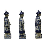 Chinese Blue White 3 Ching Qing Emperor Kings Figure Set ws567S