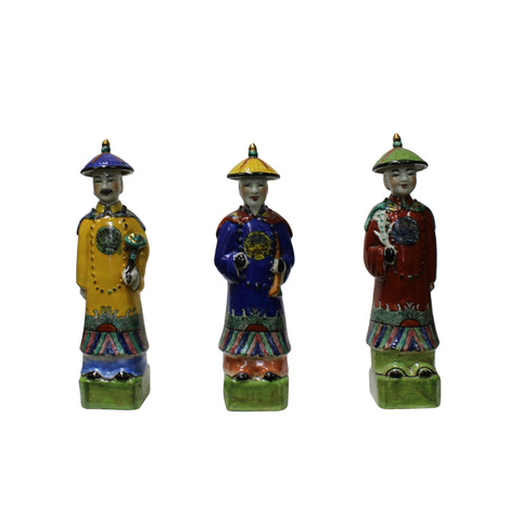 Chinese emperor - 3 Chinese  - Ceramic figure