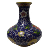 Chinese Metal Purple Blue Enamel Cloisonne Vase Shape Figure ws570S