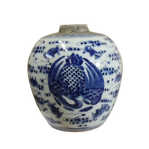 ginger jar - blue white urn- chinese porcelain container