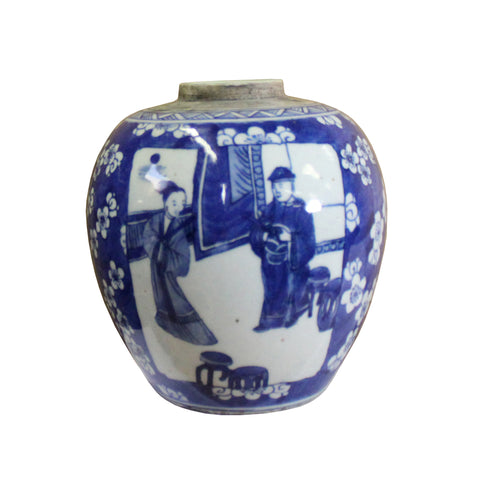 ginger jar - blue white urn - Chinese ceramic container