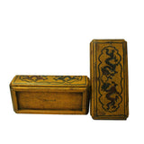 Chinese Distressed Yellow Lacquer Chinoiserie Rectangular Shape Treasure Box ws583S