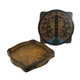 Chinese Distressed Yellow Lacquer Chinoiserie Square Shape Treasure Box ws586S