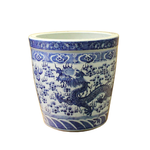 Chinese Blue White Dragon Flower Porcelain Pot Vase ws589S
