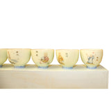 Chinese Off White Kid Lohon Graphic Porcelain Handmade Tea Cup 6 pieces Set ws592S