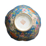 Chinese Oriental Vintage Round Light Blue Enamels Peony Flower Bowl ws600S