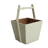 wood bucket - bucket with handle - off white