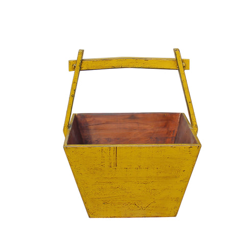 wood bucket - yellow square bucket - bucket w handle