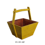 Traditional Chinese Village Vintage Wood Yellow Square Handle Bucket ws618S