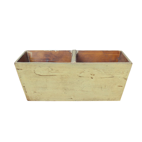 white wood bucket - rectangular bucket - wood tray