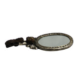 Chinese Stone Pixiu Carving Pewter Hand-held Accent Mirror ws622S