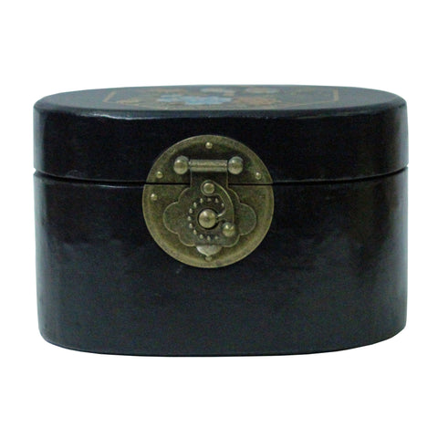 oriental box - oval black box - jewelry box