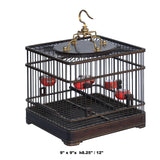 Quality Handmade Chinese Huali Rosewood Square Shape Decor Birdcage ws639S