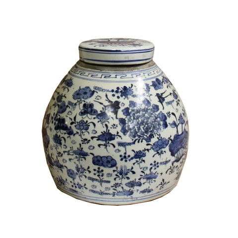 ginger jar - blue white - porcelain jar urn