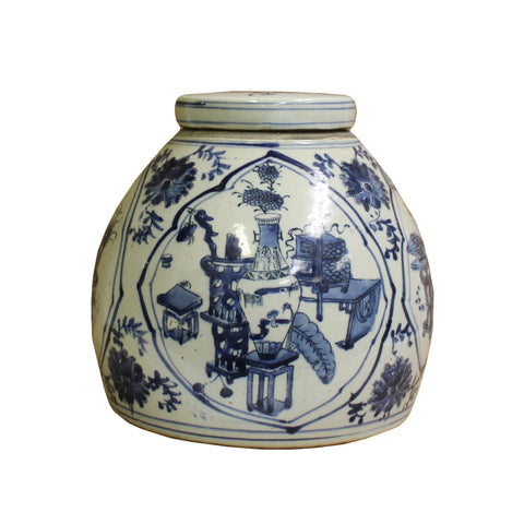 ginger jar -blue white - porcelain jar