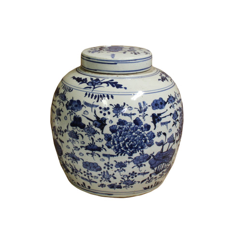 ginger jar - blue white - porcelain urn